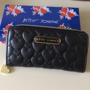 Authentic Betsey Johnson Black Quilted Wallet